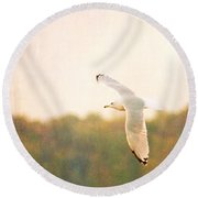 Round Beach Towel featuring the photograph Ring Billed Gulled by Heidi Hermes