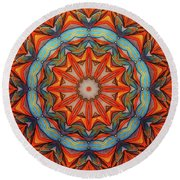 Round Beach Towel featuring the drawing Ring Of Fire by Mo T