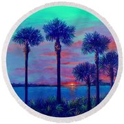 Ringling Bridge Sunset Round Beach Towel by Lou Ann Bagnall