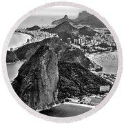 Rio De Janeiro - Sugar Loaf, Corcovado And Baia De Guanabara Round Beach Towel