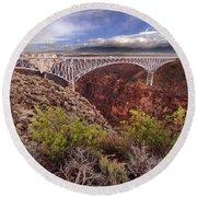 Round Beach Towel featuring the photograph Rio Grande Gorge Bridge by Jill Battaglia