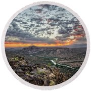 Rio Grande River Sunrise 2 - White Rock New Mexico Round Beach Towel by Brian Harig