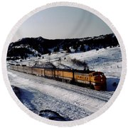 Rio Grande Zephyr Trainset In The Snow, Plainview Colorado, 1983 Round Beach Towel