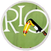 Rio Vintage Travel Poster Restored Round Beach Towel