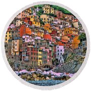 Round Beach Towel featuring the photograph Riomaggiore by Allen Beatty