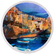 Round Beach Towel featuring the painting Riomaggiore - Cinque Terre by Elise Palmigiani