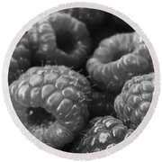 Round Beach Towel featuring the photograph Ripe Organic Raspberries by Lora Lee Chapman