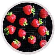 Ripe Strawberries On Back Plate Round Beach Towel by GoodMood Art