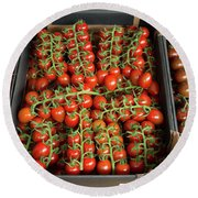 Ripe Tomatoes Round Beach Towel