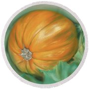 Ripening Pumpkin On The Vine Round Beach Towel