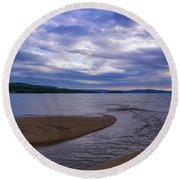 Rippled Inlet Near Sunset Round Beach Towel