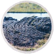 Rippled Lava At The Mid-atlantic Rise In Thingvellir, Iceland Round Beach Towel by Allan Levin