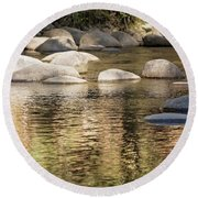 Round Beach Towel featuring the photograph Ripples And Rocks by Linda Lees