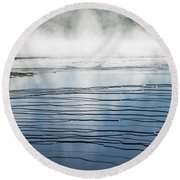 Ripples And Steam In Midway Geyser Basin Round Beach Towel