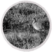 Camouflage, Black And White Round Beach Towel