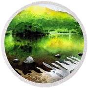 Ripples On Rydal Water Round Beach Towel