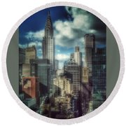 Rise Above - Chrysler Building New York Round Beach Towel by Miriam Danar