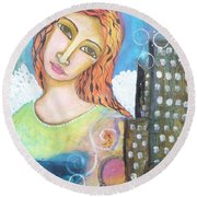Rise Above Because You Are An Angel Round Beach Towel by Prerna Poojara