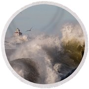 Rise Above The Turbulence Round Beach Towel