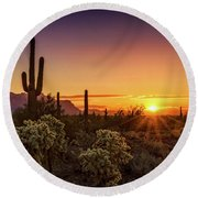Round Beach Towel featuring the photograph Rise And Shine Arizona  by Saija Lehtonen