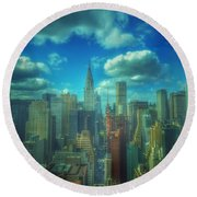 Round Beach Towel featuring the photograph Rise And Shine - Chrysler Building New York by Miriam Danar