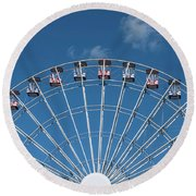 Rise Up Ferris Wheel In The Clouds Seaside Nj Round Beach Towel by Terry DeLuco