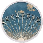 Rise Up Ferris Wheel In The Clouds Round Beach Towel by Terry DeLuco
