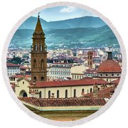 Rising Above The City Round Beach Towel