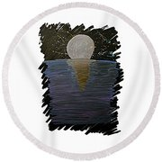 Round Beach Towel featuring the drawing Rising Moon by Bee-Bee Deigner