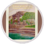 Rising Spirit Of The Tiger With The Sun Card Poster Round Beach Towel