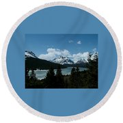 Rising Wolf And Two Medicine Lake Round Beach Towel