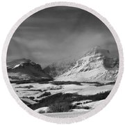 Rising Wolf Mountain- Winter - Black And White Round Beach Towel