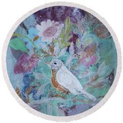 Round Beach Towel featuring the painting Risky Robin by Robin Maria Pedrero