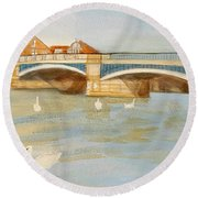 River At Royal Windsor Round Beach Towel by Joanne Perkins