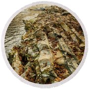 Round Beach Towel featuring the photograph River Bank by Iris Greenwell