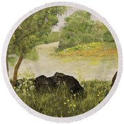River Bend In Spring Round Beach Towel