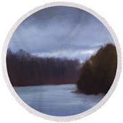 River Bend In Winter Round Beach Towel