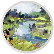 Round Beach Towel featuring the painting River Bend by Rae Andrews