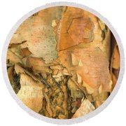 Round Beach Towel featuring the photograph River Birch by Tom Singleton