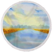 River Blue Round Beach Towel