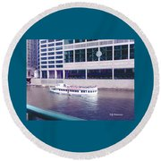 River Boat Tour Round Beach Towel