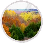 River Bottom In Autumn Round Beach Towel