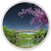 River Bridge Cherry Tree Blosson Round Beach Towel