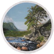 River Coe Scotland Oil On Canvas Round Beach Towel