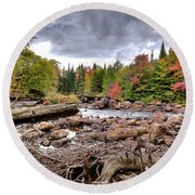 Round Beach Towel featuring the photograph River Debris At Indian Rapids by David Patterson
