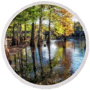 River Eeriness Round Beach Towel
