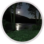 River In Moonlight Round Beach Towel