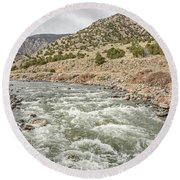 River In The Mountains Round Beach Towel