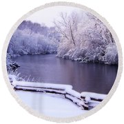 River In Winter Round Beach Towel