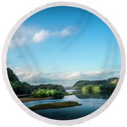 Round Beach Towel featuring the photograph River Islands by Marvin Spates